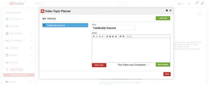 tubebuddy Planificateur de sujets video